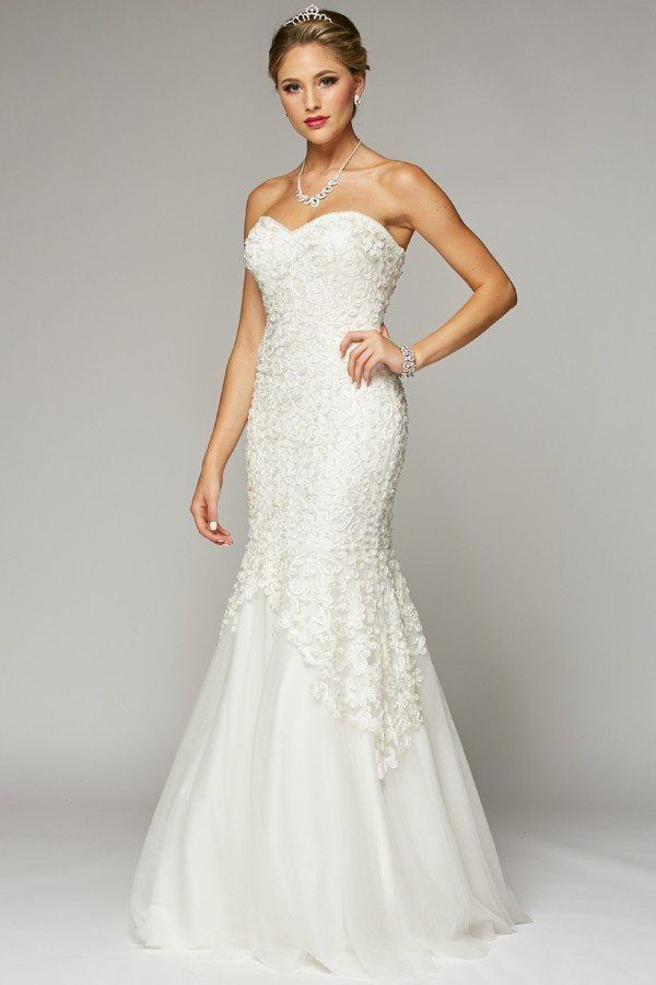 Inexpensive Strapless sweetheart neckline mermaid wedding dress