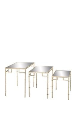 Metal Mirror Nesting Tables - Set of 3