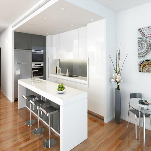 10' X 10' GALAXY SLATE - Glossy White kitchen cabinets in ...