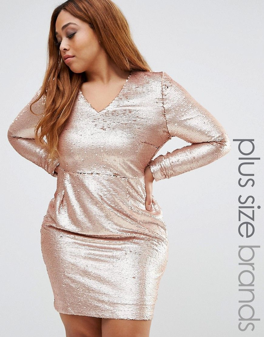 Missguided Plus Sequin Mini Dress - Gold | Products | Sequin ...