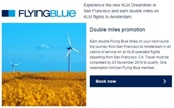 KLM Dreamliner from San Francisco to Amsterdam double Flying Blue miles - http://www.mightytravels.com/2016/05/klm-dreamliner-from-san-francisco-to-amsterdam-double-flying-blue-miles/