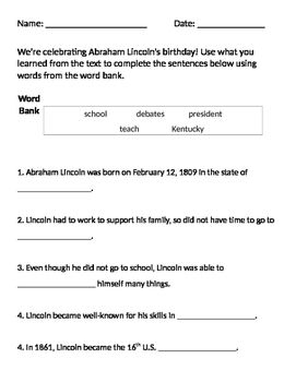 Abraham Lincoln Worksheet Presidents\u0027 Day American Presidents Abraham Promised Son Worksheet Abraham Lincoln Worksheet (free)