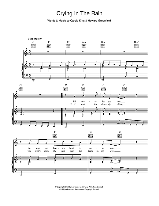 The Everly Brothers Crying In The Rain Sheet Music Notes Chords Score Download Printable Pdf Sheet Music Notes Music Notes Sheet Music