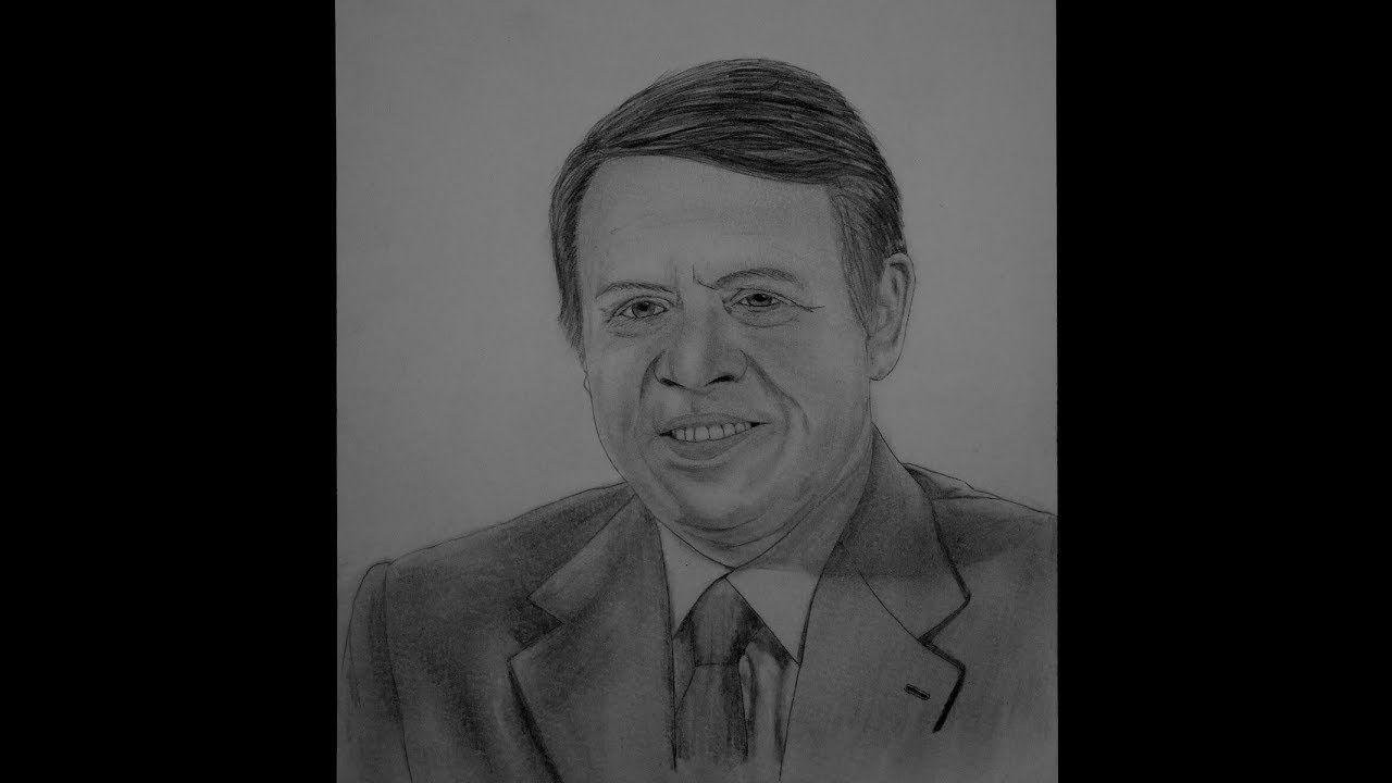 رسم الملك عبد الله الثاني الهاشمي King Abdullah Bin Alhussein Ii Drawing Male Sketch Drawings Art
