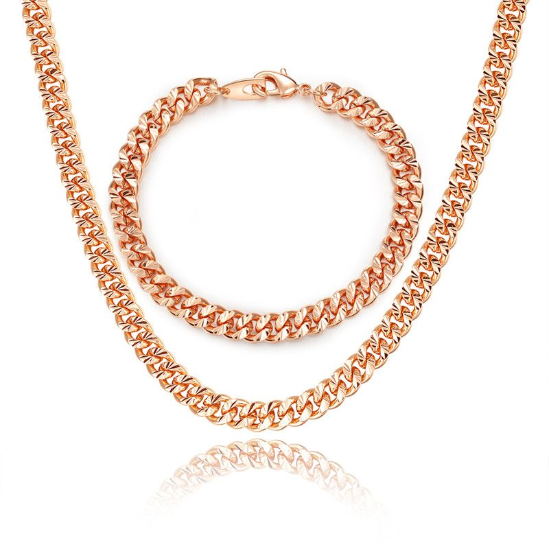 BRZHA Branded Rose Gold Mens Necklace Set Fashion 7MM Width Cuban