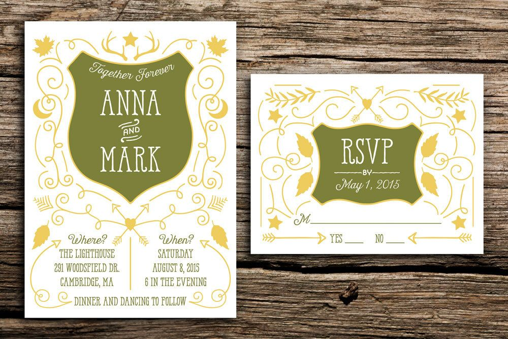 Moonrise Kingdom Wedding Invitation Suite // Wes Anderson Wedding Whimsical Invitation Woodland Wedding Outdoorsy Invite Arrows Shield by factorymade on Etsy