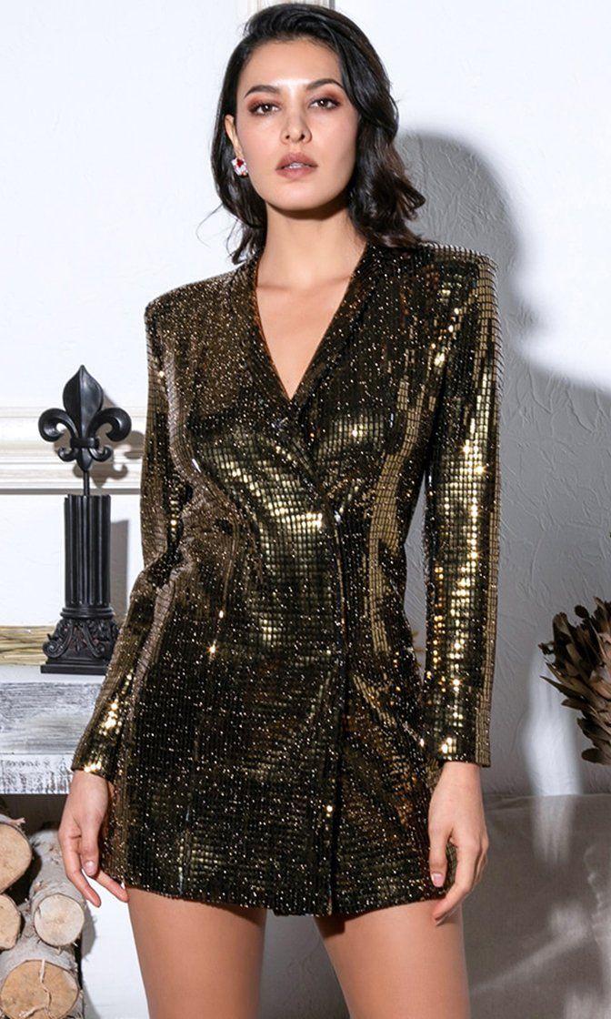 ALister Black Gold Glitter Long Sleeve Shoulder Pad V