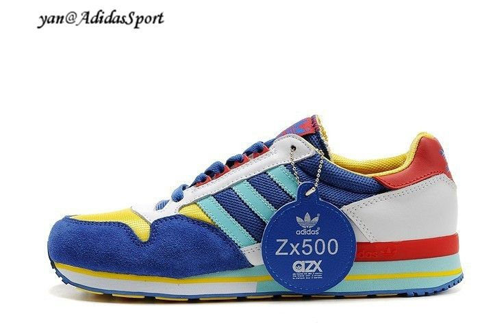 a21b2cc66ba5a Adidas Originals ZX 500 Mens Trainers Blue Yellow Red Turquoise White S4930