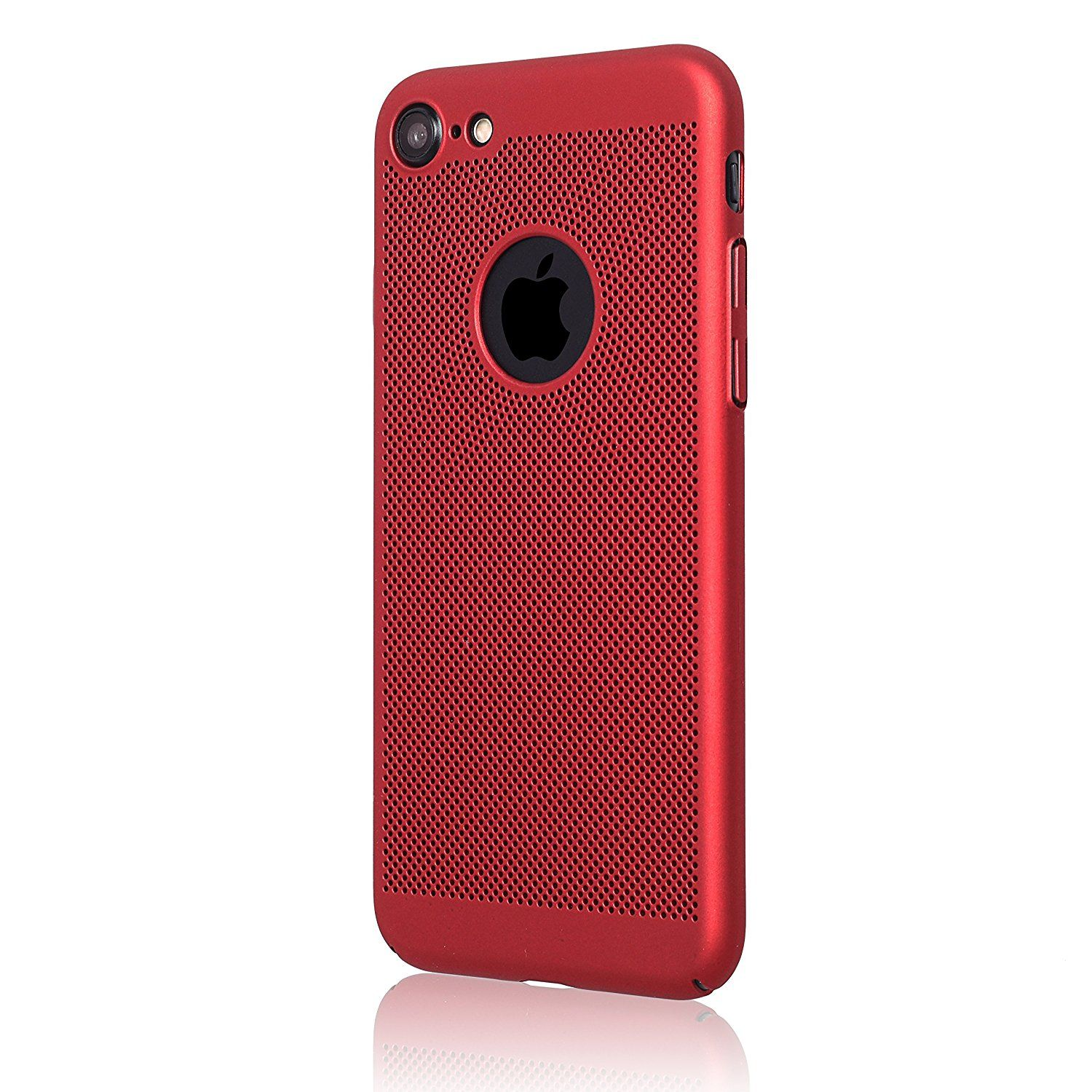 iPhone 7 Case Ultra Thin Slim Fit Hard Shell Protection Premium Anti Fingerprint Mesh Design For iPhone Red