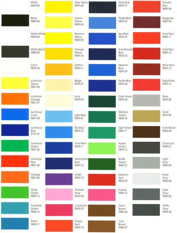 Color Gerber Vinyl Chart