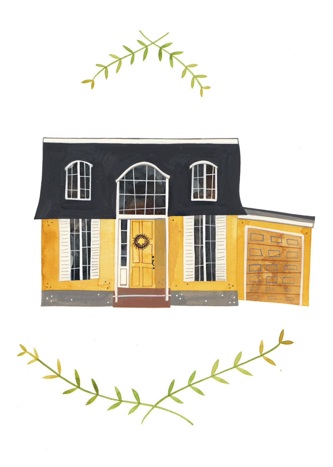 custom illustrated house portraits from a local artist on etsy