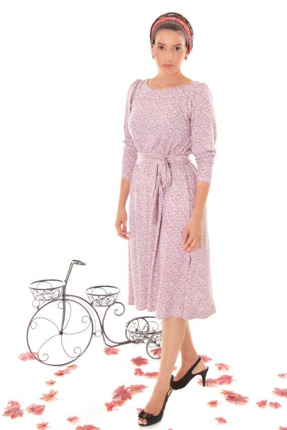 0e8be011b01b Lilac printed modest midi dress with long sleeve by TAMARLANDAU, $110.00 # modest fashion #lilac #midi dress #long sleeves #floral print #tzniut  #headcover ...
