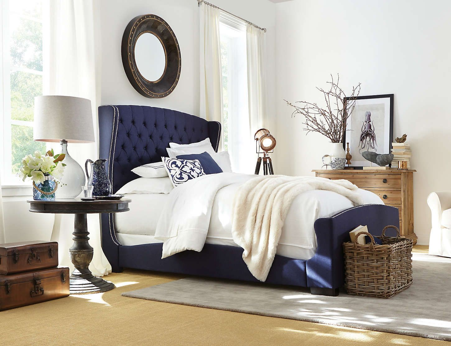 Naples upholstered bed navy blue wrap design silhouette button tufted headboard with Master bedrooms with upholstered beds