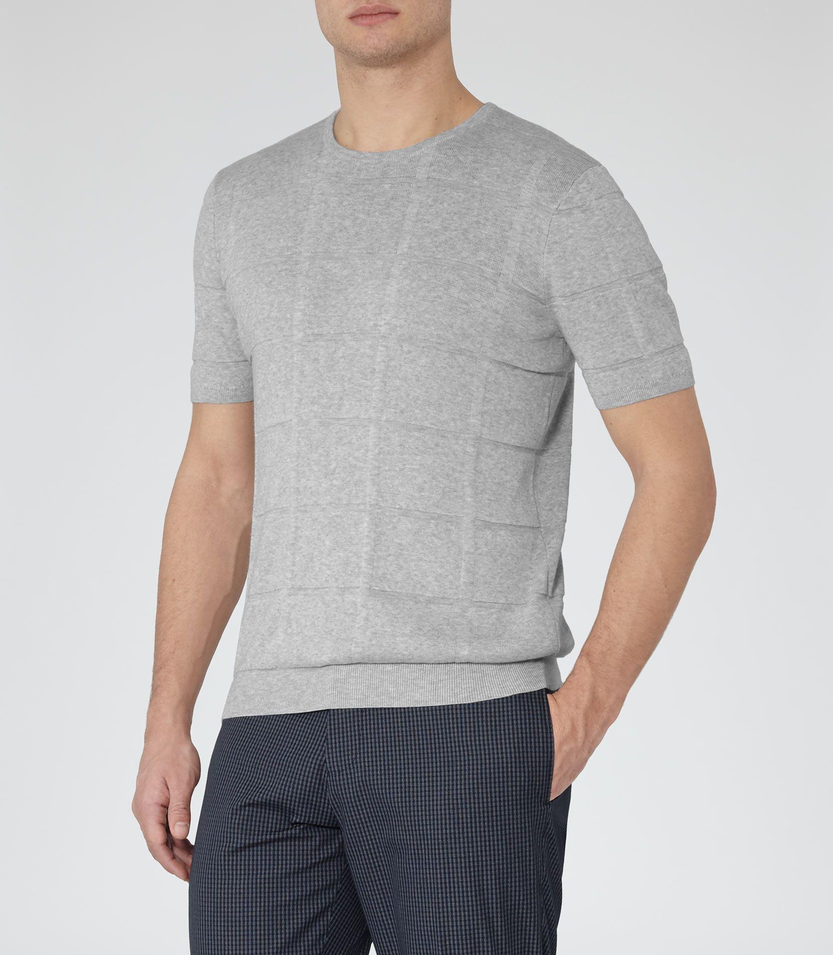Black t shirt reiss - Mens Grey Check Textured T Shirt Reiss Rufus