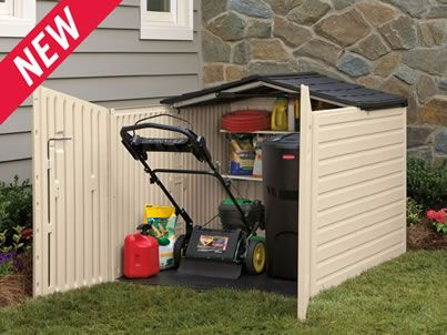 For the lawn mower get it out of the car garage for Garden shed for lawn mower