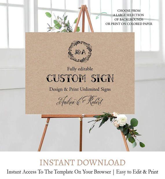 Kraft Wedding Sign Template, Printable Custom Sign, Fully Editable ...