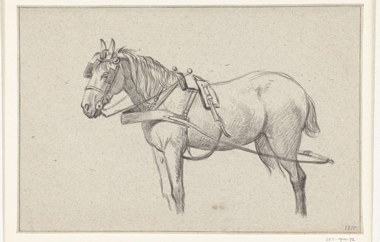 Jean Bernard | Staand ingespannen paard, naar links, Jean Bernard, 1815 |