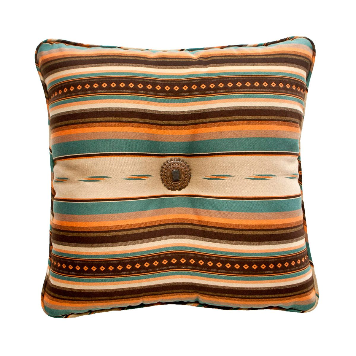 La Fonda Teal with Moon Medallion Accent Pillow Pillows