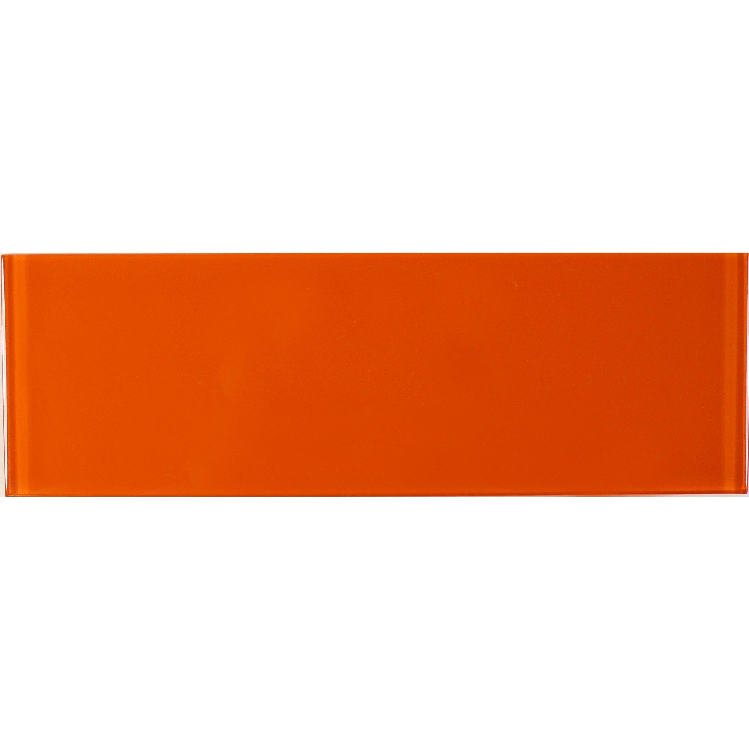 Orange Burst 4 X 12 Glossy Glass Subway Tile Basements