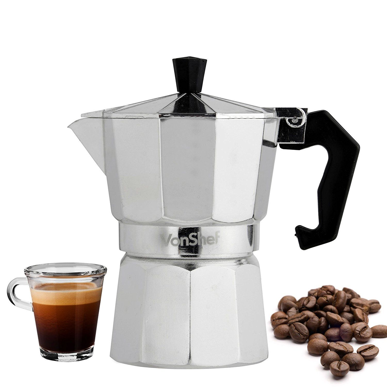 VonShef 3 Cup/150ml Italian Espresso Coffee Maker Moka