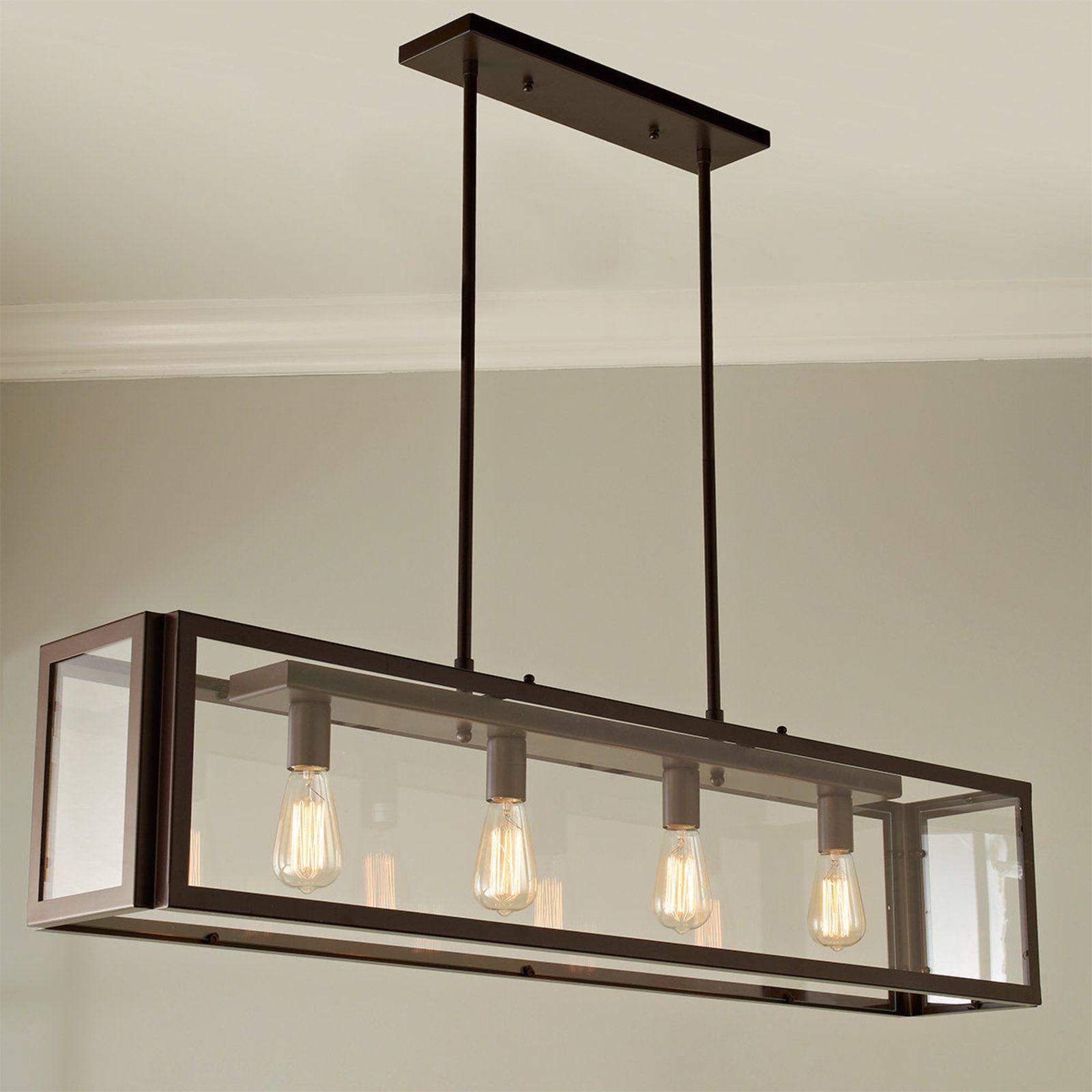 Industrial modern island chandelier bronze