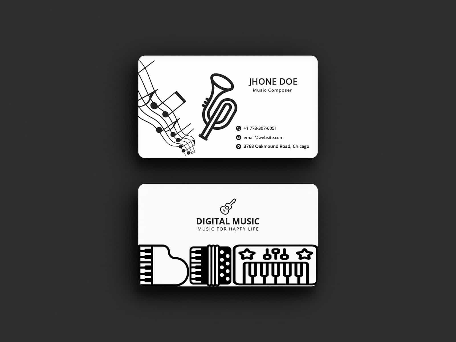 Musician Business Card Template Musician Business Card Business Cards Collection Business Card Template