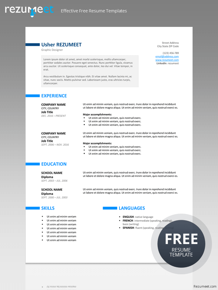 Ueno  Free Professional Resume Template For Word  Classic Resume