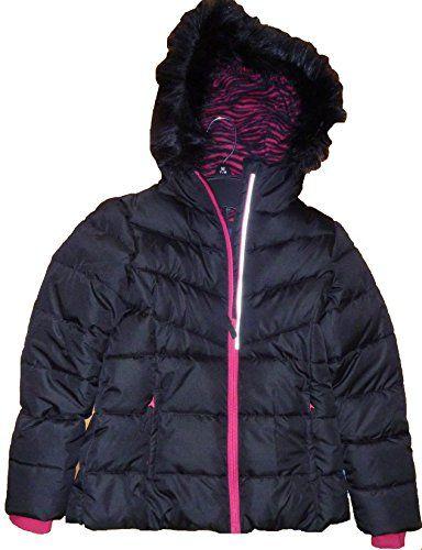 378e98ddd Falls Creek Girls Falls Creek Black Lined Puffer Jacket Coat with ...