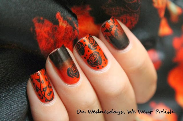 On Wednesdays, We Wear Polish Sally Hansen - Black Out L'Oreal - The Muse's Inspiration Mash 50 - Leaves BM14 - Rose Dotting Tool