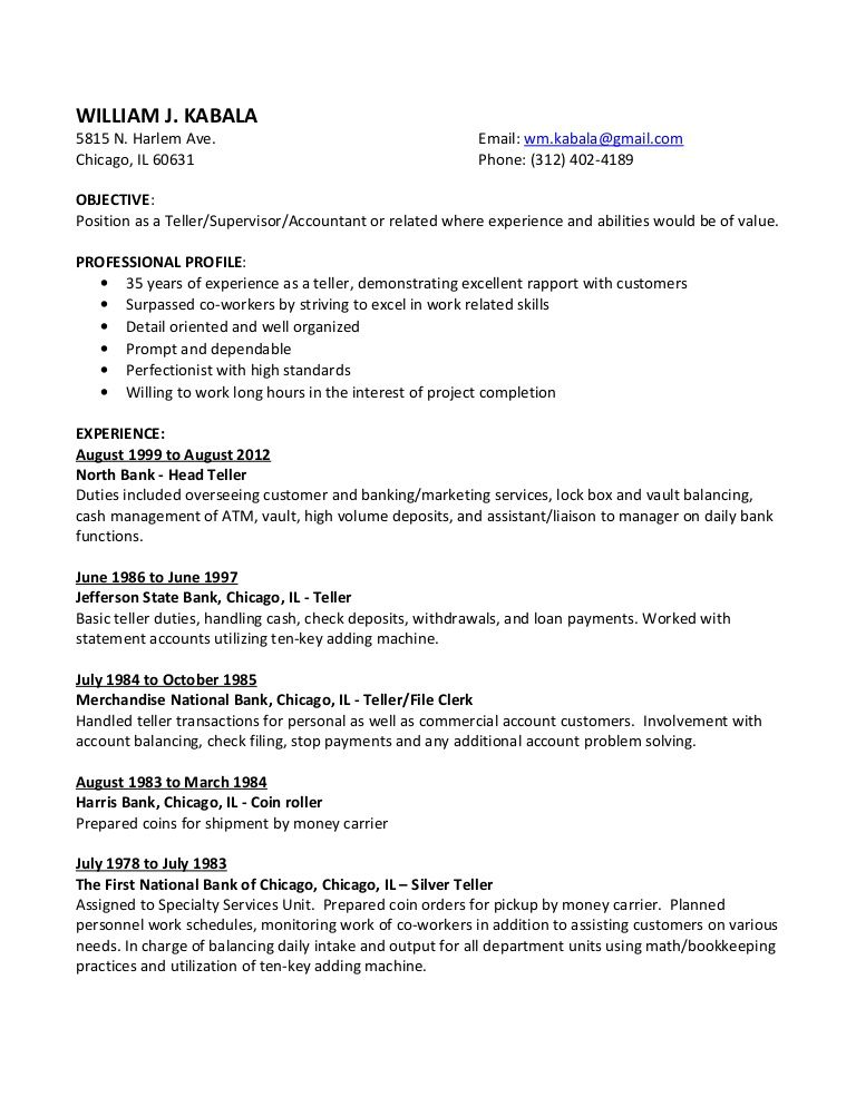 Head Teller Resume Myresume201328380574Williamkabala Via Slideshare  Bill