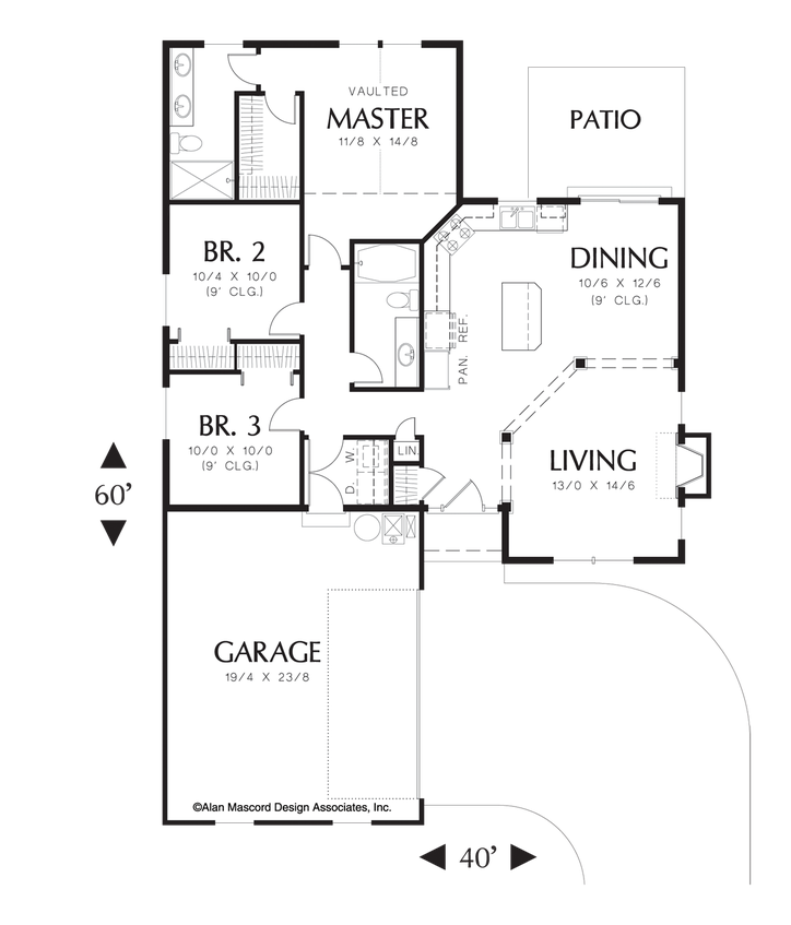Mascord House Plan 1111ad The Wyndley One Floor House Plans Dream House Plans House Plans