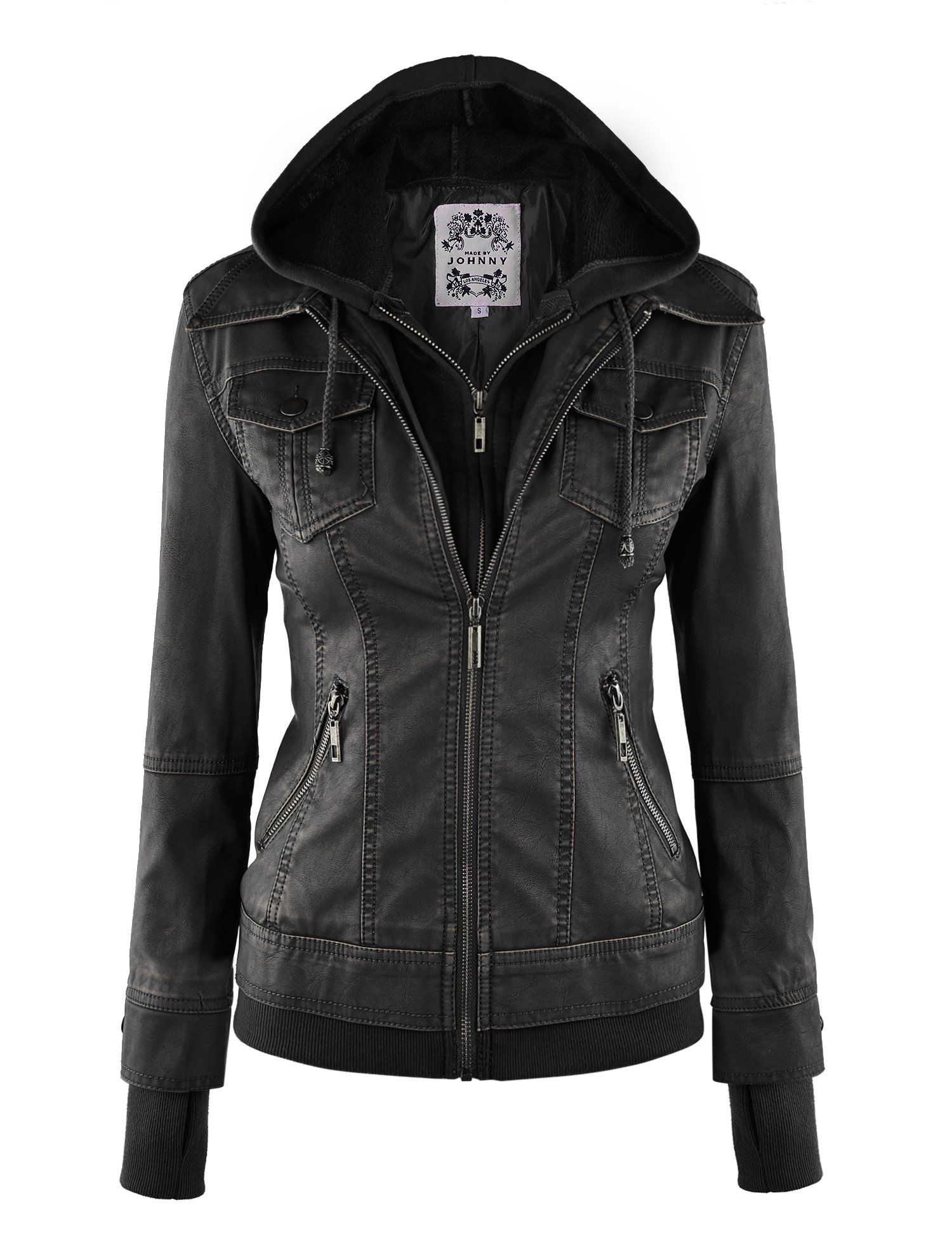 MBJ Womens Faux Leather Motorcycle Jacket With Hoodie at