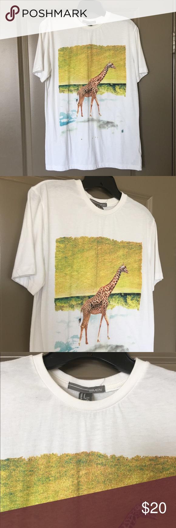 SALE21 Men Giraffe T-Shirt 21 Men men's size M giraffe print t-shirt. NWOT. 21men Shirts Tees - Short Sleeve