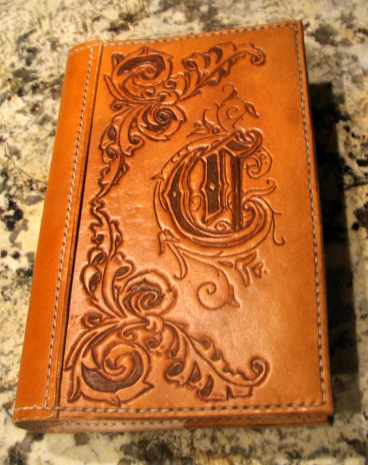 hand tooled leather monogrammed bible cover by snakebite leather