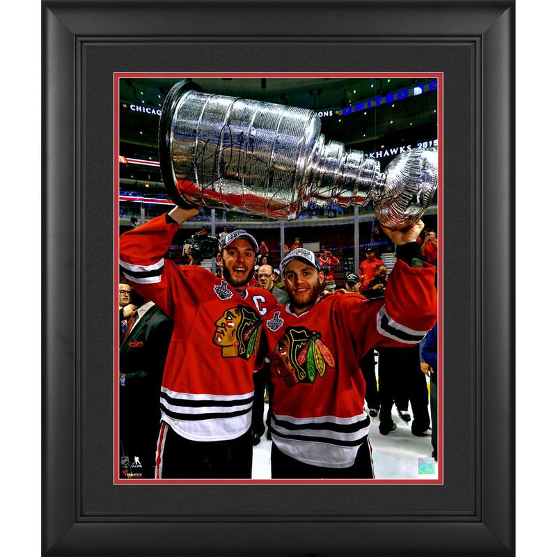 "Patrick Kane, Jonathan Toews Chicago Blackhawks Fanatics Authentic 2015 Stanley Cup Champions Framed Autographed 16"" x 20"" Raising Stanley Cup Photograph"