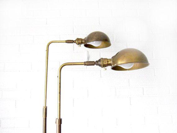 Vintage Koch U0026 Lowy OMI Brass Floor Lamp Set   Industrial Mid Century  Modern Pair Of