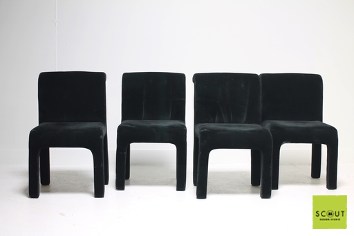 Game on with these incredibly versatile black velvet game / dining chairs. $450 for set at Scout Design Studio