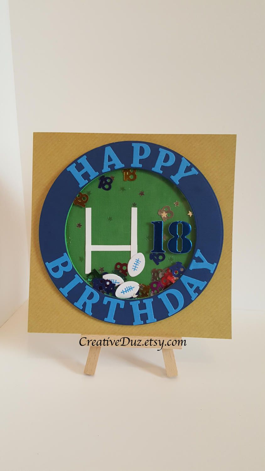 Personalised Rugby Shaker Birthday Card Football Birthday Etsy Birthday Cards For Men Birthday Cards Football Birthday