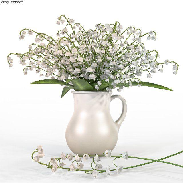 Convallaria Majalis Flowers In Pitcher 3d Model Max C4d Obj 3ds Fbx Lwo Stl 3dexport Com By Renekorda Flowers 3d Model Art