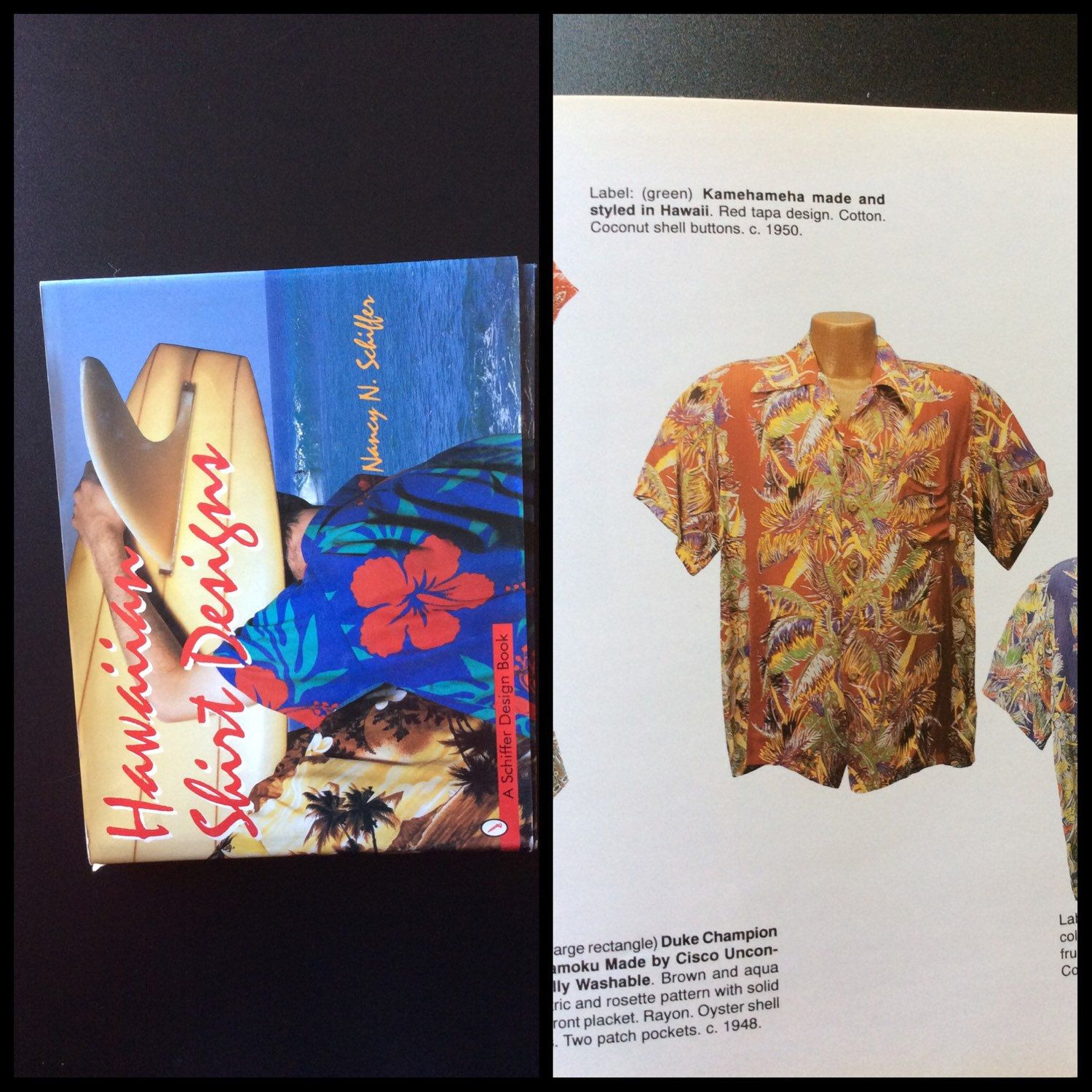 "Just listed this Kamehameha shirt, just like the one featured in this book, ""Hawaiian Shirt Designs"" by by Nancy N Schiffer. It's rayon, size small and from 1950."