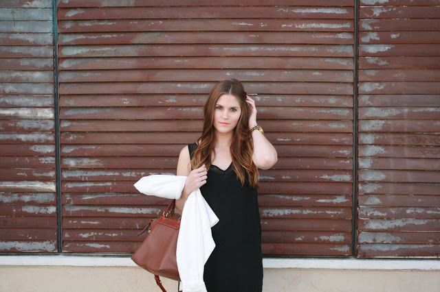 LBD for day with white linen jacket & brown accessories