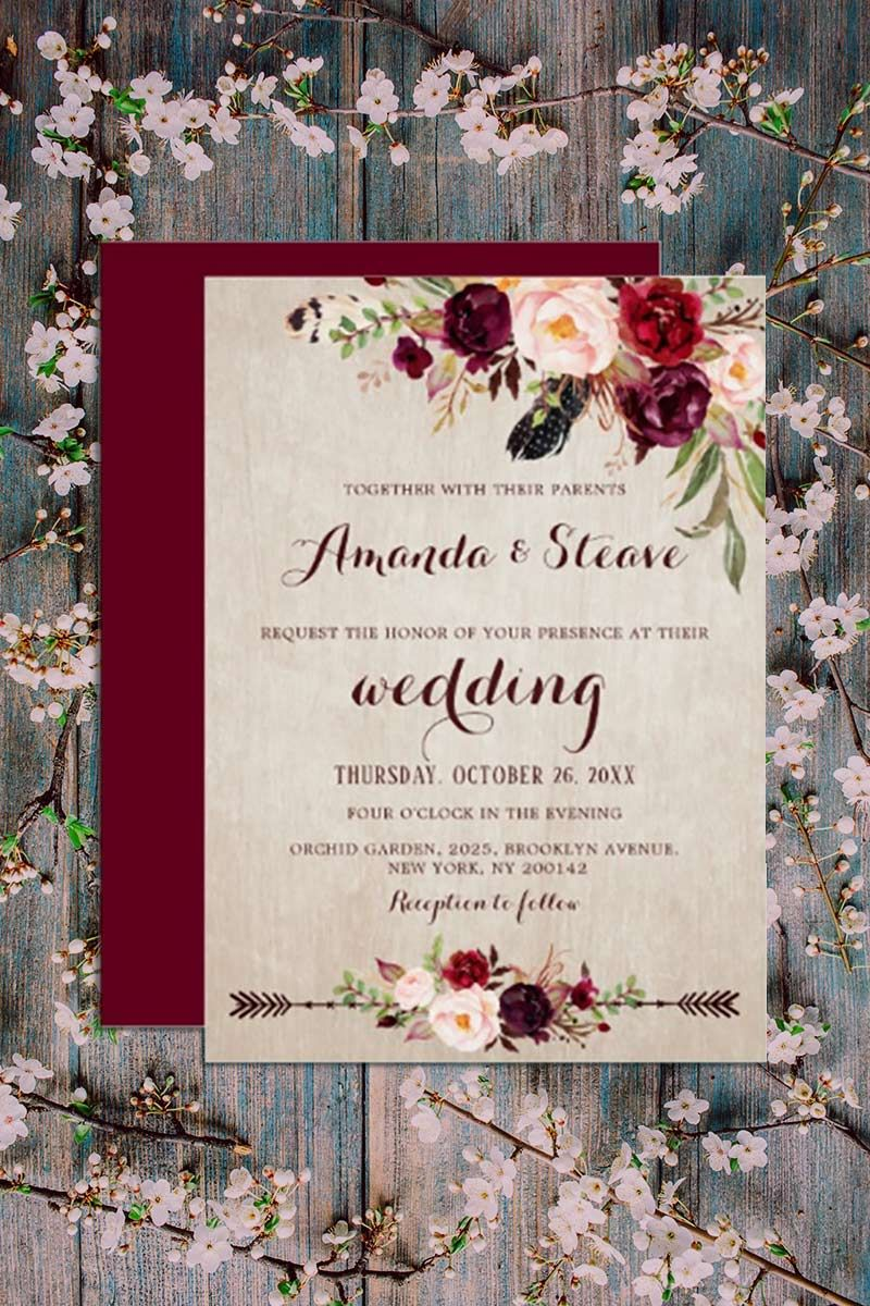 Burgundy Red Floral Rustic Boho Wedding Invitation Zazzle Com