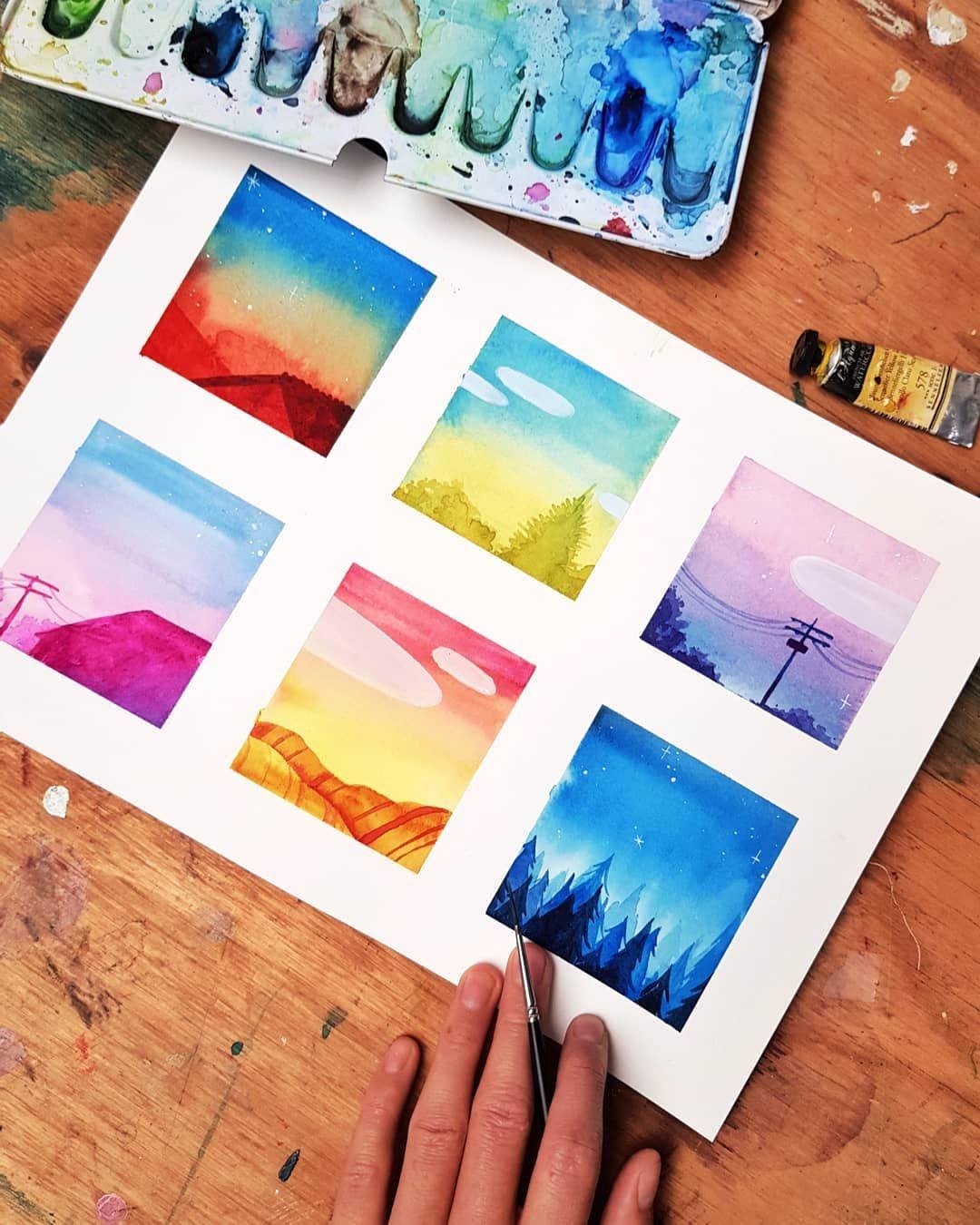 Маленькие красивые картинки акварелью