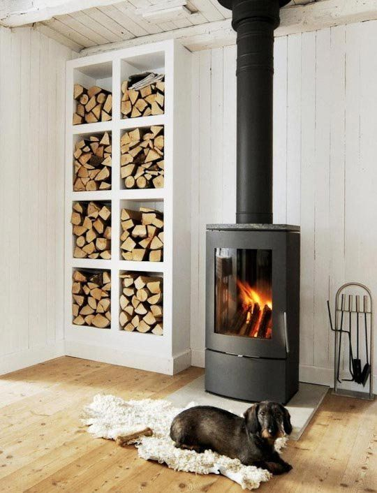 10 Wonderful Spaces With a Wood Stove Turn wood stack horizontally under  the a fireplace hearth box.