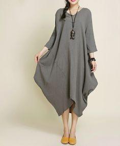 48ea85fcb63f0 Robes, Kaki Coton Lin asymétrie Maxi Dress est une création orginale de  camilleyuxi sur DaWanda