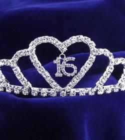 with the rhinestones in the shape of a 16 Sweet 16 Tiara Party wearables