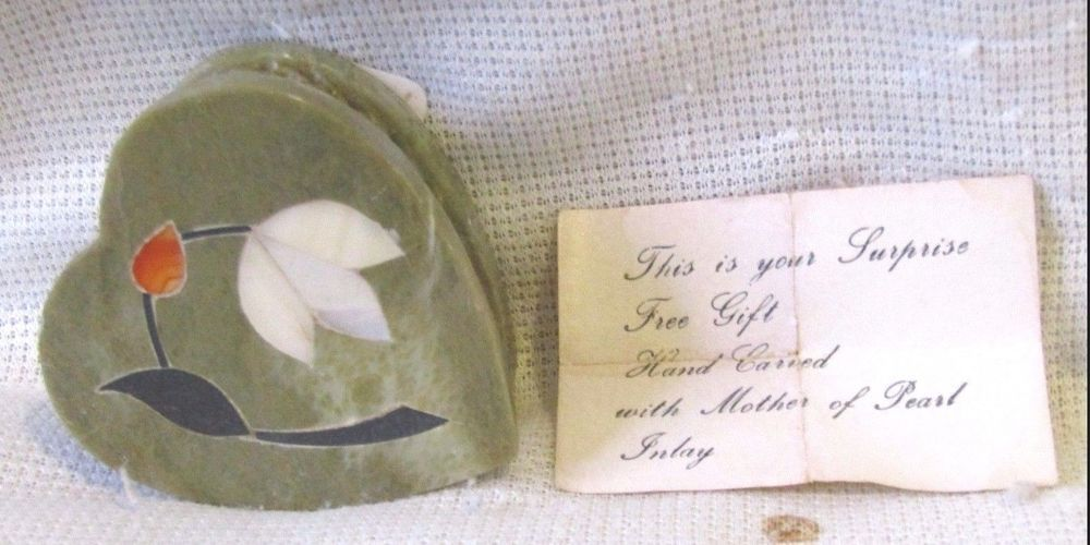 Hand-Carved Mother of Pearl Marble Heart Shaped Trinket Box