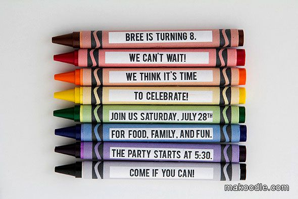 Rainbow Party Idea: Crayon Birthday Party Invite (Could also use one crayon and make an invitation 'scroll' around it)