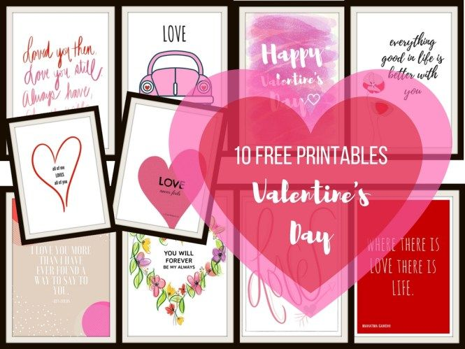 Enjoy 10 FREE Valentine's Day printables. Ideal use for home decor, creating personal valentines or as personalized gifts.