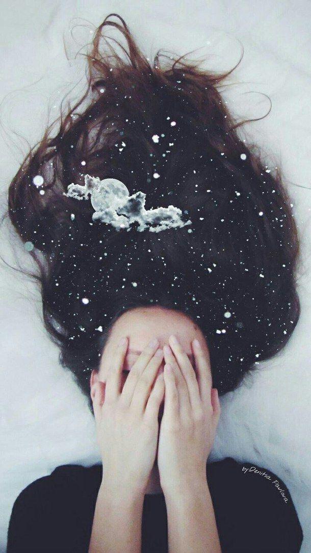 cabello, cielo, estrella, luna, pelo